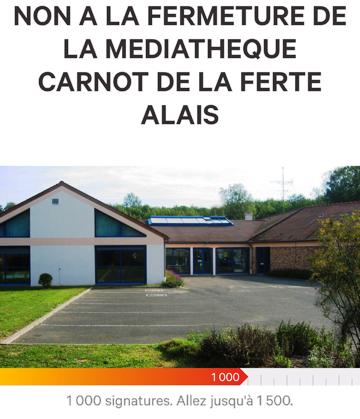 petition contre la fermeture de la médiatheque de la ferté alais et du Sud Essonne